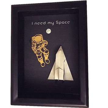 I Need My Space Loner Gift For Astronomy, Space Or Science Geeks, Shiny Astronaut And Origami Shuttle, Teacher Gift, Science Art, Nerd Gift
