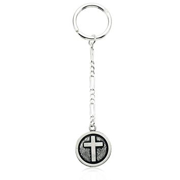 Sterling Silver Antiqued Circle Cross Key Chain