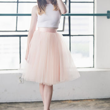 The Wendy - Dusty Blush Tulle Skirt | Space 46