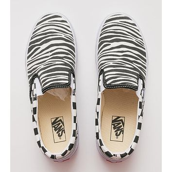 Vans Slip on Black-and-white checkerboard zebra pattern on men's and women's canvas shoes