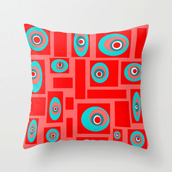 Modern Outdoor Pillow, Outdoor Pillow, Outdoor Cushion,  Funky Outdoor Pillow, Red and Turquoise Outdoor Pillow,18 x 18 Outdoor Pillow