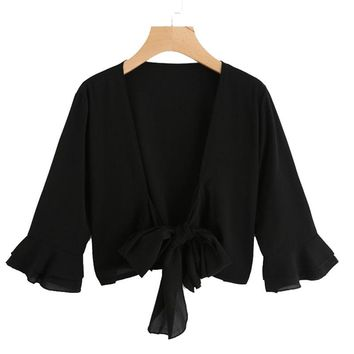 Fashion Top Spring V Neck 3/4 Sleeve Women  Black Bell Sleeve