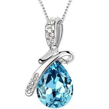 Crystal Pendant Silver Necklace - Available in Various Color