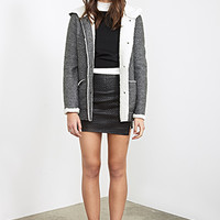 FOREVER 21 Faux Shearling-Lined Duffle Coat Charcoal Heather