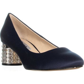 Nina Barbe Jeweled Kitten Heel Dress Pumps, New Navy, 6.5 US