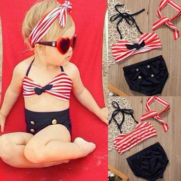 ac VLXC 2017 Baby Girls Clothes Kids Tankini Swimming Suit Button Striped Bottoms Beachwear Swimsuit Swimwear Bathing Suit