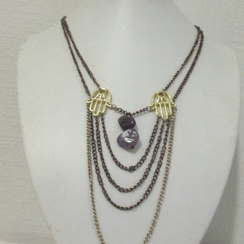 Plunge Multi Layered Chain Necklace with Hamsa Hands, Hand of Fatima, Amethyst, Multicolor Chain