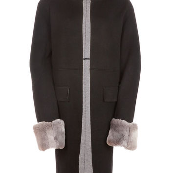 Poppy London Fur Cuff Cardigan Black/Grey