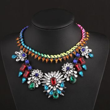 New Arrival Jewelry Shiny Gift Fashion Stylish Multi-color Gemstone Alloy Accessory Necklace [6056644097]