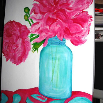 Pretty Pink  Peonies in Aqua Canning Jar Floral Watercolor Painting, Original Flowers painting