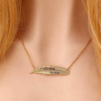 ca DCCKTM4 Gift New Arrival Stylish Jewelry Shiny Leaf Harry Potter Alloy Feather Necklace [11203383559]