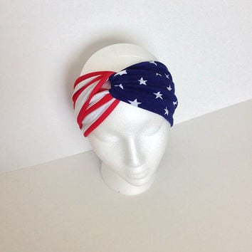 Fourth of July headband.red white and blue headband.twisted turban headband.independence day headband. Non slip headband. Women's headband