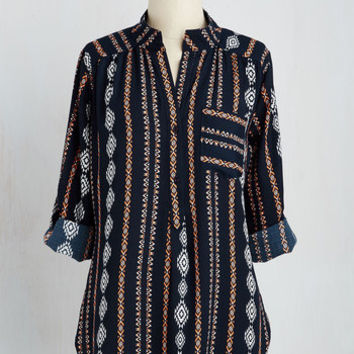 Boho Long 3 Cook Lively! Top in Navy
