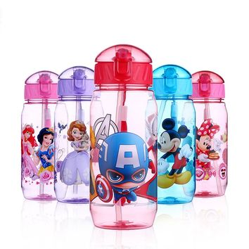 Disney 400ML Children's Plastic Feeding Cup Marvel Minnie Micke Elsa Anna Snow White Princess Baby Portable Feeding Bottle with Straw Leak Proof Durable Lid