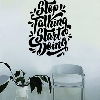 Stop Talking Start Doing Gym Quote Fitness Health Work Out Decal Sticker Wall Vinyl Art Wall Room Decor Weights Lift Dumbbell Motivation Inspirational