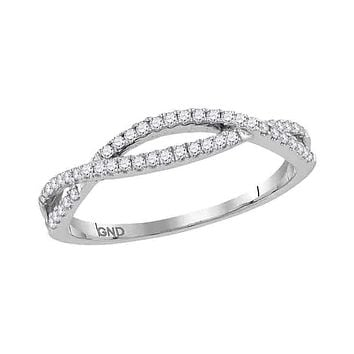 10kt White Gold Women's Round Diamond Crossover Twist Band Ring 1/5 Cttw - FREE Shipping (US/CAN)