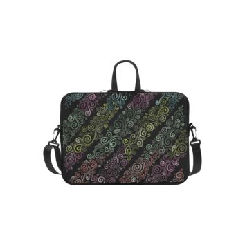Personalized Laptop Shoulder Bag Psychedelic Pastel Rainbow Handbags 11 Inch