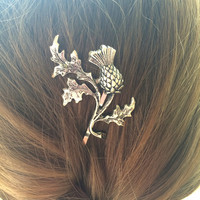Thistle Hair Pin, Silver Thistle Hair Pin, Leaf Hair Pin, Ox Brass hair Pin, Scottish Wedding, Bridal Hair, Leaf bobby pin, Thistle Barrette