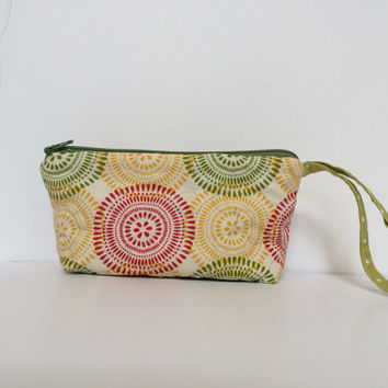 Zipper pouch wristlet, quilted zipper pouch,  sunglasses case,  eyeglasses case