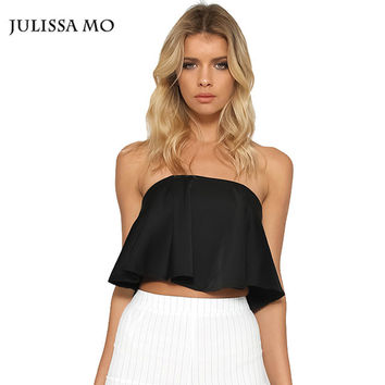 Women Crop Top For Summer Sexy Off Shoulder Flouncing Ruffles Cropped Brandy Melville Tops Strapless Tank Tops For Women