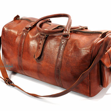 Leather Duffel Bag - Light Brown, Moroccan Leather Luggage