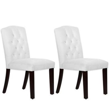 Skyline Furniture Denise Tufted Arched Dining Chairs in Velvet White (Set of 2)