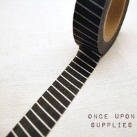 Japanese Black Washi Tape / Black and White Pin Stripes Pattern / Decorative Tape