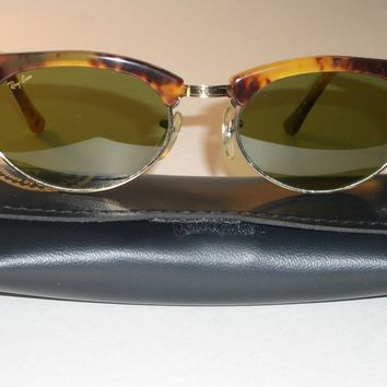 VINTAGE B&L RAY BAN W1265 RB3 LENS ANTIQUE TORTOISE/GOLD CLUBMASTER SUNGLASSES