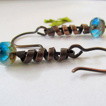 Spirals Dangling Earrings, blue Picasso glass, hammered copper, rustic