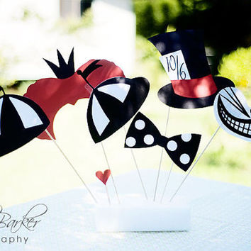 Alice In Wonderland Party Supplies Photo Booth Props by windrosie