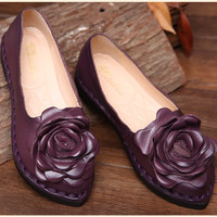 Retro handmade ordinality women floral casual shoes pregnant high quality