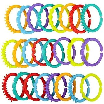 Cute Colorful Rainbow Rings Baby Teether Toy