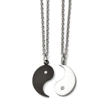 Stainless Steel 1/2 Brushed Black IP-plated Ying w/CZ & 1/2 Polished Yang w