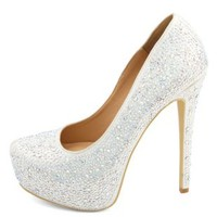 Diamond Princess Rhinestone Platform Pumps - Crystal