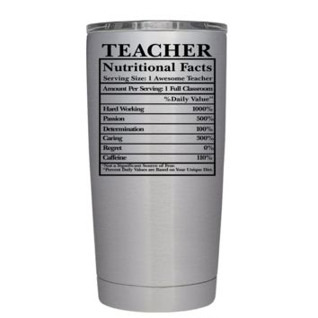 Teacher Nutritional Facts 20 oz Tumbler