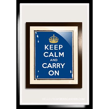 Gilded 18k Gold Keep Calm And Carry On, Royal Blue Vintage Expression Artwork