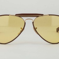 Rayban RB3422 90429A 3422Q Craft Brown Aviator Yellow Lens Sunglasses