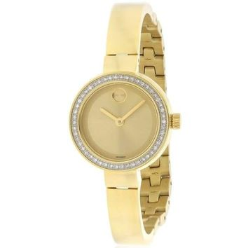 Movado Womens Bold 3600322 Gold Diamond Bezel Watch