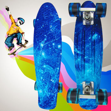Load Retro Skateboard Trendy 100kg Starry Sky Pattern Durable Light Environmental  Mini Board For Outdoor Sport Skate Board