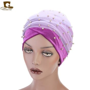 Women Velvet Long Turban two tails headscarf beaded mesh head wrap headwrap hijab Beaded Bandanas Hair Accessories