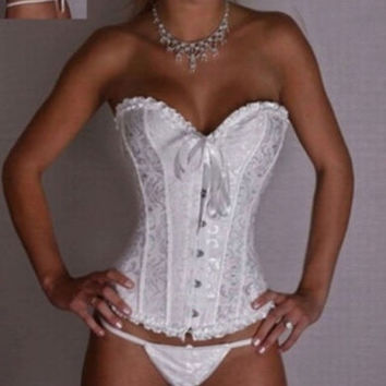 White Lace Up Black Victorian Brocade Luxurious Boned Corset Lingerie Underwear S-6XL