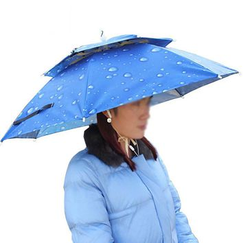 Waterproof Anti-UV Umbrella Hat Beach head tent Sun Shelter Portable 55cm Sun Shade Outdoor Camping Fishing Hiking