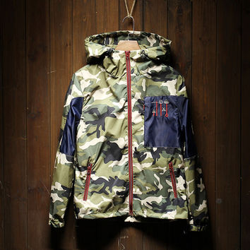 Men's Camo Embroidered Lightweight Hoodies Jackets
