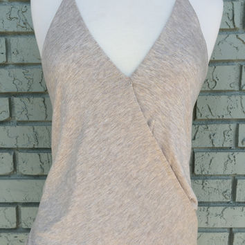 Elan Racerback V-neck Top- Natural **SIZE LARGE ONLY**