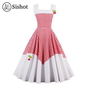 Women Summer Retro Dress Red White Plaid Collar Cherry Sleeveless Knee Length A Line Crew Neck Vintage Dress