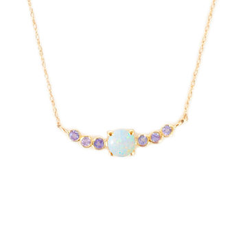 14kt Gold Tanzanite and Opal Rainbow Curve Pendant