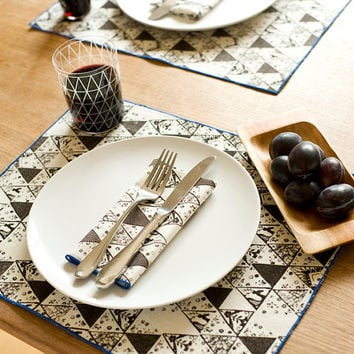 New Hand Printed Place Mats, Winter Triangles, Walnut Brown, Anna Joyce Textile Collection