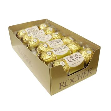 Ferrero Rocher Hazelnut Chocolates  3 Count Packets 12 Packs in a Case: Case of 12