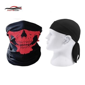HEROBIKER 2 pieces Motorcycle Mask Balaclava Skull Ghost face shield Biker Maske Motor Windproof Caps Helmet Headwrap Bandana
