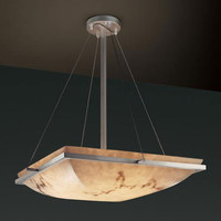 Justice Design Group FAL-9791-25-NCKL-LED-3000 LumenAria 18-Inch Square Bowl 3000 Lumen LED Pendant with Ring